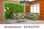 interior living room. 3d... | Shutterstock . vector #627615737