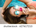 summer fashion portrait of... | Shutterstock . vector #627617213