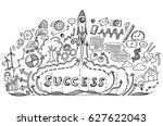 start up rocket with business... | Shutterstock .eps vector #627622043