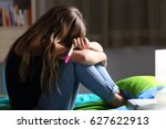 side view of a sad pregnant... | Shutterstock . vector #627622913