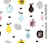 seamless pattern with creative... | Shutterstock .eps vector #627628553