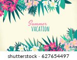 pink and white frangipani ... | Shutterstock .eps vector #627654497