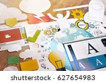 graphic and web design. concept ... | Shutterstock . vector #627654983