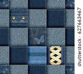 seamless jeans patchwork... | Shutterstock . vector #627663467