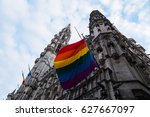 a rainbow flag of the lgbt... | Shutterstock . vector #627667097