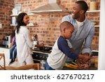 children helping parents to...   Shutterstock . vector #627670217