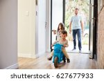 excited children arriving home... | Shutterstock . vector #627677933
