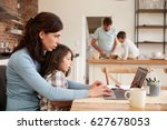 busy family home with mother... | Shutterstock . vector #627678053