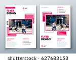 Flyer design. Corporate business report cover, brochure or flyer design. Leaflet presentation. Teal Flyer with abstract circle, round shapes background. Modern poster magazine, layout, template. A4. | Shutterstock vector #627683153