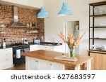 home interior with open plan... | Shutterstock . vector #627683597