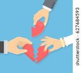 broken heart concept. male and... | Shutterstock . vector #627684593