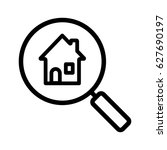 real estate search linear icon. ... | Shutterstock .eps vector #627690197