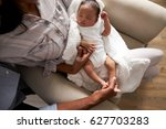 parents home from hospital with ...   Shutterstock . vector #627703283