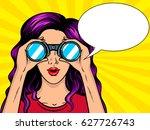 woman looks through binocular... | Shutterstock .eps vector #627726743