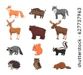 forest animals set in flat... | Shutterstock .eps vector #627737963
