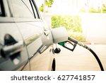 car refueling on a petrol... | Shutterstock . vector #627741857
