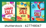 Summer sale vector poster set with 50% off discount text and summer elements in colorful backgrounds for store marketing promotion. Vector illustration.   | Shutterstock vector #627748067