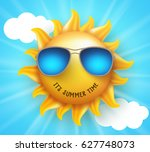 summer sun vector design with... | Shutterstock .eps vector #627748073
