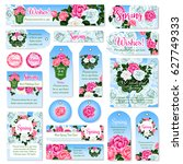 spring rose flower tag and... | Shutterstock .eps vector #627749333