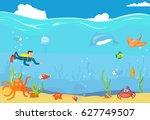 sea underwater blue landscape.... | Shutterstock .eps vector #627749507