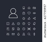 user icon in set on the black... | Shutterstock .eps vector #627755957