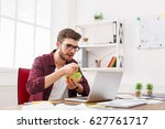 man has healthy business lunch... | Shutterstock . vector #627761717