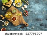 spices and herbs on wooden... | Shutterstock . vector #627798707