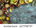 spices and herbs on wooden... | Shutterstock . vector #627798737