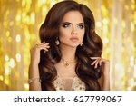 beauty fashion woman in gold.... | Shutterstock . vector #627799067