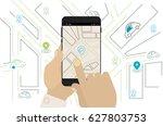 mobile car sharing  navigation  ... | Shutterstock .eps vector #627803753