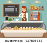 coffee shop interior seller... | Shutterstock .eps vector #627805853