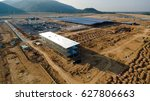 aerial view construction site... | Shutterstock . vector #627806663
