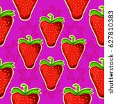 strawberry. seamless vector... | Shutterstock .eps vector #627810383