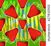 strawberry kaleidoscope.... | Shutterstock .eps vector #627810503