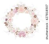 vintage festive wreath of... | Shutterstock .eps vector #627818507