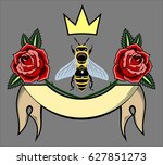 an image of a bee with roses  a ... | Shutterstock .eps vector #627851273