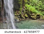 emerald pool and waterfall in... | Shutterstock . vector #627858977