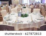 round dinner table number 12... | Shutterstock . vector #627872813