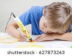 kid with 3d pen. creative ... | Shutterstock . vector #627873263