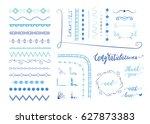 set of hand drawn decorative... | Shutterstock .eps vector #627873383