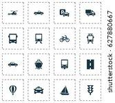 transportation icons set.... | Shutterstock .eps vector #627880667