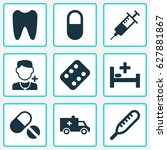 drug icons set. collection of... | Shutterstock .eps vector #627881867