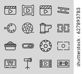 movie icons set. set of 16... | Shutterstock .eps vector #627893783