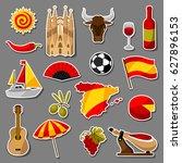 spain sticker icons set.... | Shutterstock .eps vector #627896153