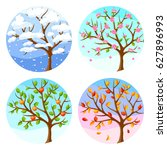 four seasons. illustration of... | Shutterstock .eps vector #627896993