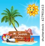 summer holiday with wooden sign ...   Shutterstock .eps vector #627901613