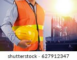 engineer holding protection... | Shutterstock . vector #627912347