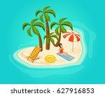 isometric island vacation... | Shutterstock .eps vector #627916853