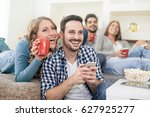 friends enjoying in... | Shutterstock . vector #627925277