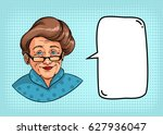 stylish grandmother with retro... | Shutterstock .eps vector #627936047